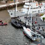 """Die Siegeryachten dee Atlantic Anniversary Regatta 2017/2018 """"Malizia"""" und """"Varuna VI"""" treffen im Sandtorhafen ein"""